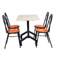 FRP FIBERGLASS FOUR SEATS DINING TABLE AND PEACOCK